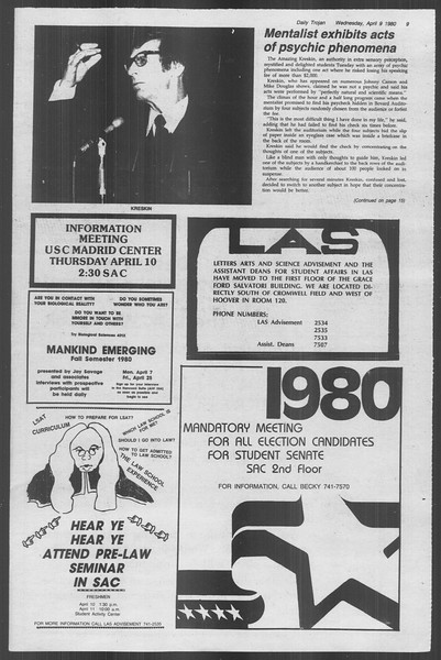 Daily Trojan, Vol. 88, No. 40, April 09, 1980