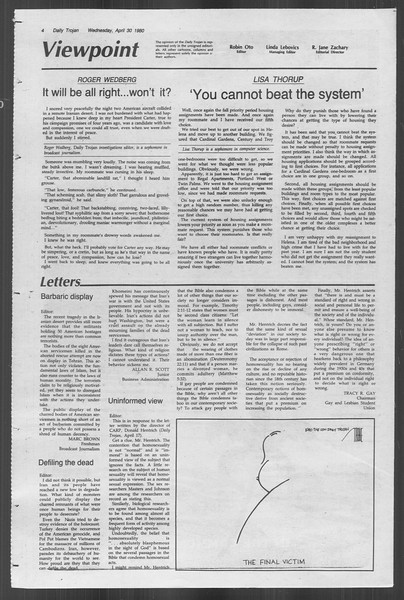 Daily Trojan, Vol. 88, No. 55, April 30, 1980