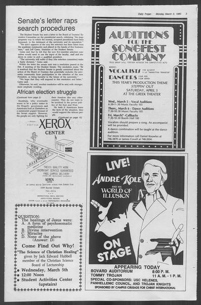 Daily Trojan, Vol. 88, No. 19, March 03, 1980
