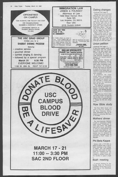 Daily Trojan, Vol. 88, No. 30, March 18, 1980