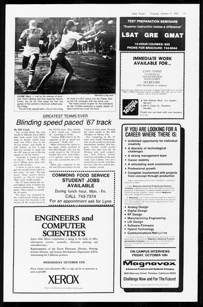 Daily Trojan, Vol. 89, No. 16, October 06, 1980
