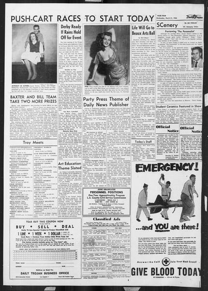 Daily Trojan, Vol. 45, No. 105, March 31, 1954