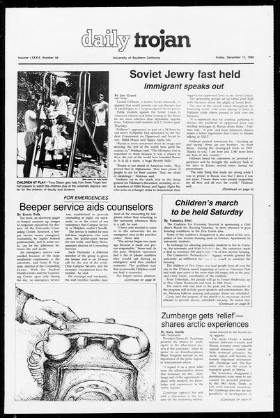 Daily Trojan, Vol. 89, No. 58, December 12, 1980