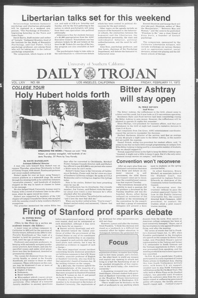 Daily Trojan, Vol. 64, No. 68, February 11, 1972