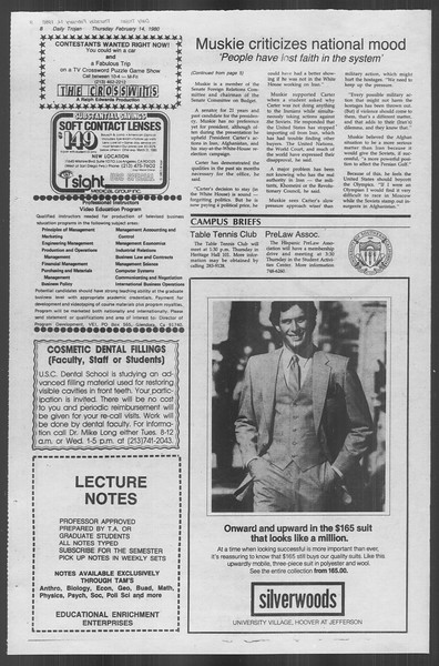 Daily Trojan, Vol. 88, No. 9, February 14, 1980