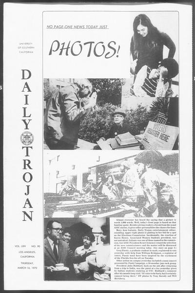 Daily Trojan, Vol. 64, No. 90, March 16, 1972