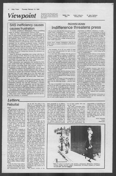 Daily Trojan, Vol. 88, No. 9, February 14, 1980