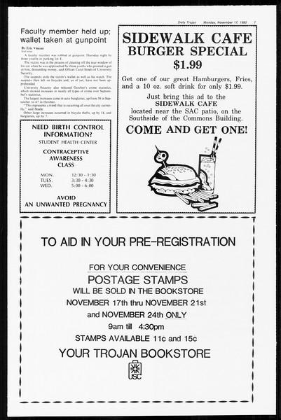 Daily Trojan, Vol. 89, No. 42, November 17, 1980