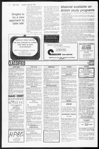 Daily Trojan, Vol. 65, No. 114, April 26, 1973