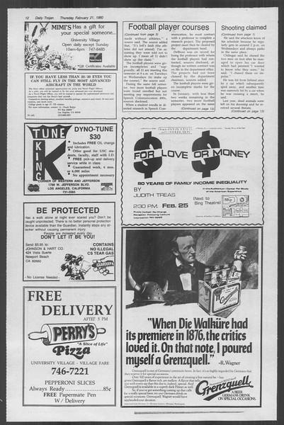 Daily Trojan, Vol. 88, No. 12, February 21, 1980