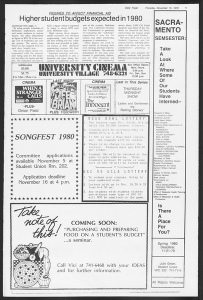 Daily Trojan, Vol. 87, No. 43, November 15, 1979