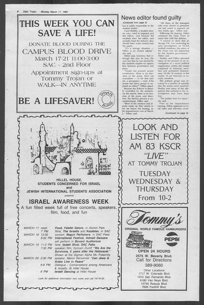 Daily Trojan, Vol. 88, No. 29, March 17, 1980