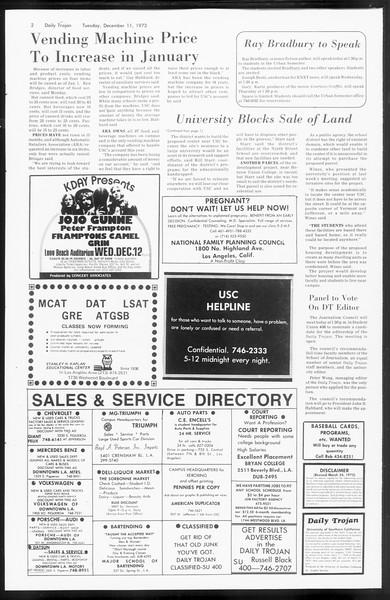 Daily Trojan, Vol. 66, No. 55, December 11, 1973