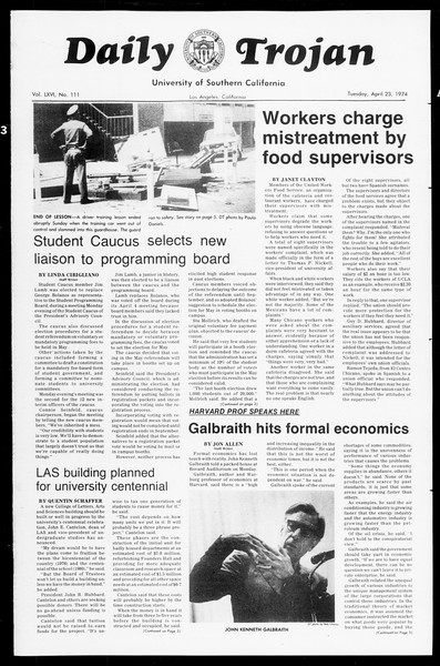 Daily Trojan, Vol. 66, No. 111, April 23, 1974
