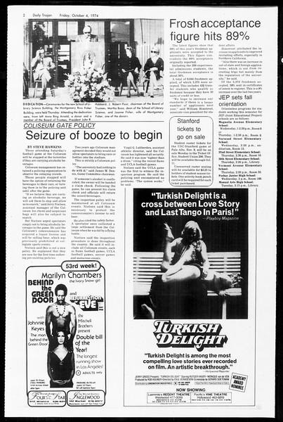 Daily Trojan, Vol. 67, No. 15, October 04, 1974