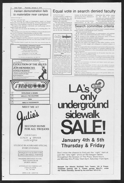 Daily Trojan, Vol. 75, No. 57, January 04, 1979