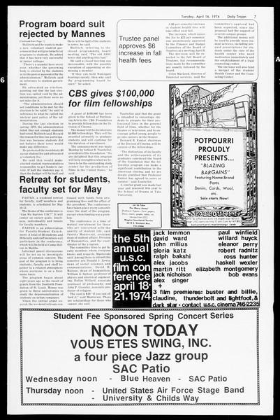 Daily Trojan, Vol. 66, No. 106, April 16, 1974