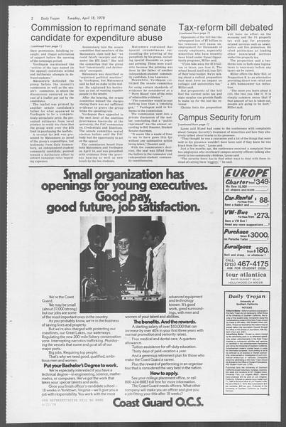 Daily Trojan, Vol. 73, No. 42, April 18, 1978