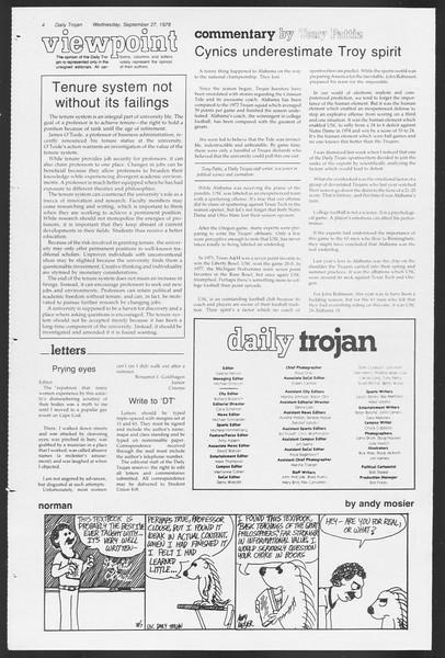 Daily Trojan, Vol. 75, No. 7, September 27, 1978