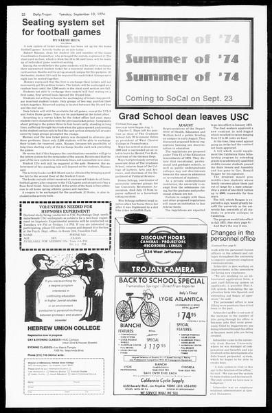 Daily Trojan, Vol. 67, No. 1, September 10, 1974