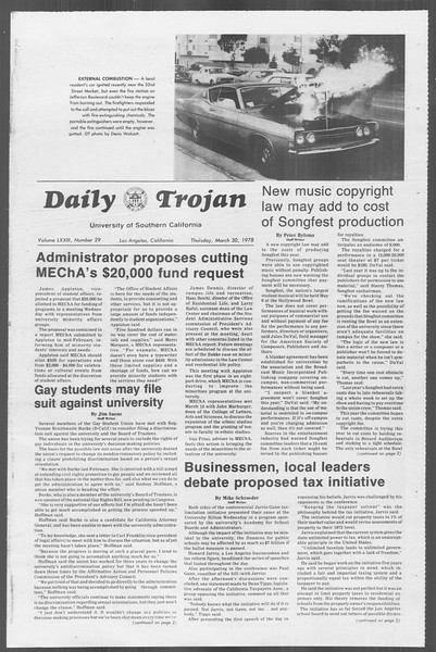 Daily Trojan, Vol. 73, No. 29, March 30, 1978