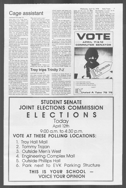 Daily Trojan, Vol. 73, No. 38, April 12, 1978
