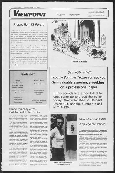 Summer Trojan, Vol. 74, No. 5, June 27, 1978