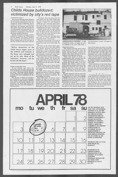 Daily Trojan, Vol. 73, No. 31, April 03, 1978