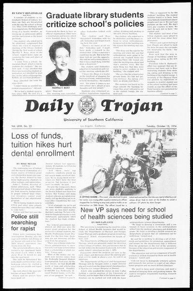 Daily Trojan, Vol. 67, No. 22, October 15, 1974