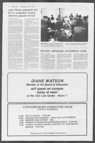 Daily Trojan, Vol. 73, No. 33, April 05, 1978