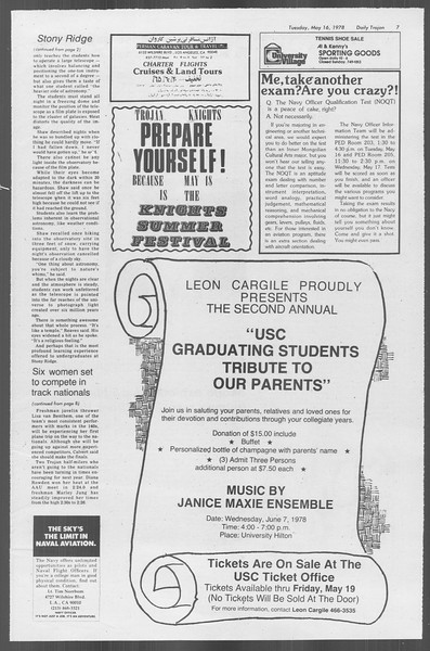 Daily Trojan, Vol. 73, No. 61, May 16, 1978