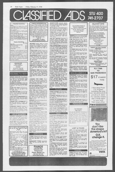 Daily Trojan, Vol. 73, No. 9, February 17, 1978