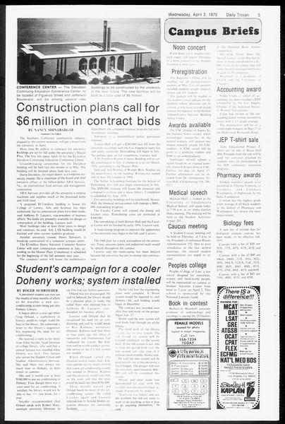 Daily Trojan, Vol. 67, No. 98, April 02, 1975