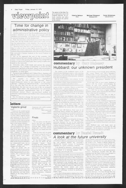 Daily Trojan, Vol. 75, No. 62, January 12, 1979