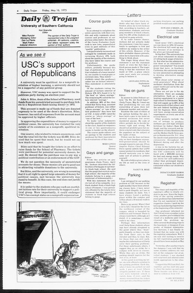 Daily Trojan, Vol. 67, No. 130, May 16, 1975