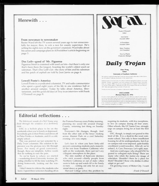 SoCal, Vol. 66, No. 92, March 18, 1974