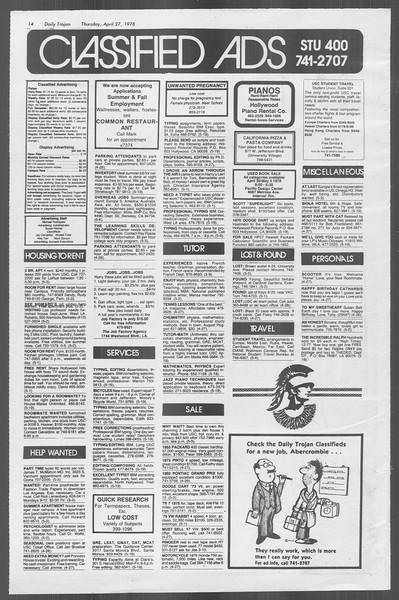 Daily Trojan, Vol. 73, No. 49, April 27, 1978