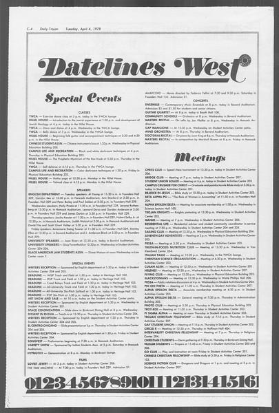 Daily Trojan, Vol. 73, No. 32, April 04, 1978