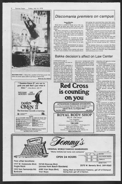 Summer Trojan, Vol. 74, No. 9, July 14, 1978