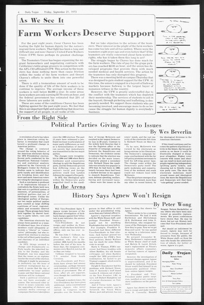 Daily Trojan, Vol. 66, No. 5, September 21, 1973