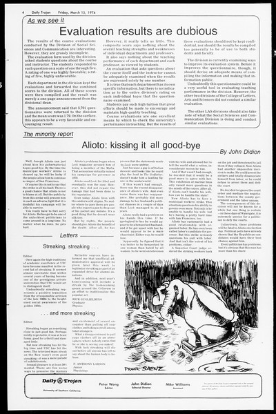 Daily Trojan, Vol. 66, No. 91, March 15, 1974