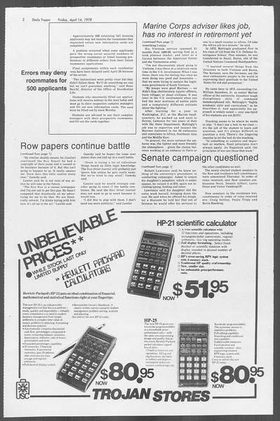 Daily Trojan, Vol. 73, No. 40, April 14, 1978