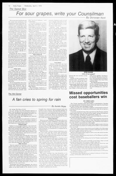 Daily Trojan, Vol. 66, No. 104, April 03, 1974