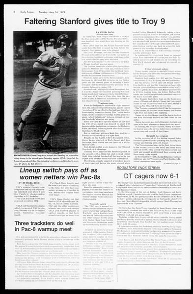 Daily Trojan, Vol. 66, No. 126, May 14, 1974