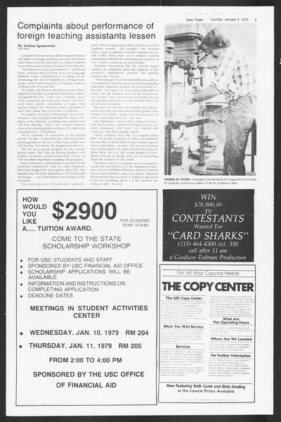 Daily Trojan, Vol. 75, No. 59, January 09, 1979