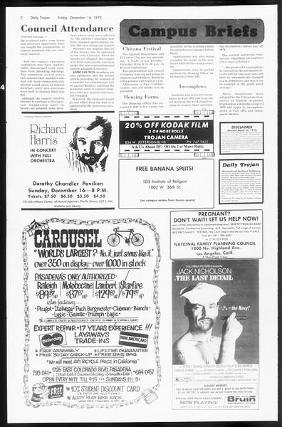 Daily Trojan, Vol. 66, No. 58, December 14, 1973