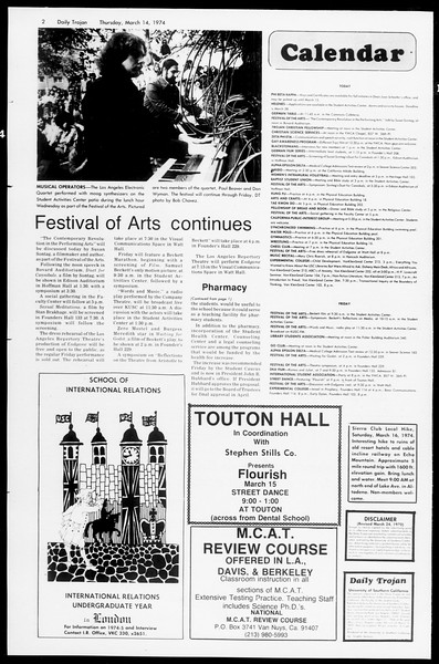 Daily Trojan, Vol. 66, No. 90, March 14, 1974