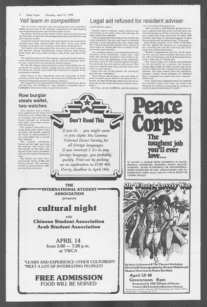 Daily Trojan, Vol. 73, No. 39, April 13, 1978
