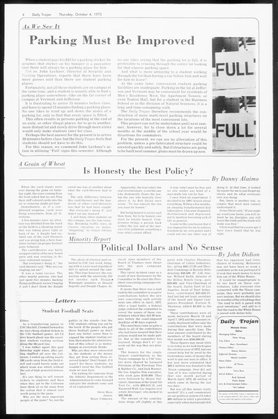 Daily Trojan, Vol. 66, No. 14, October 04, 1973