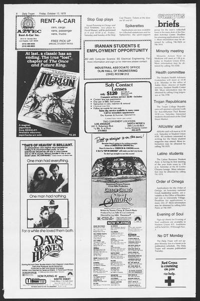 Daily Trojan, Vol. 75, No. 19, October 13, 1978